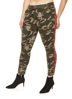 Plus Size Ribbon Detail Camo Joggers - RED - 3870072291106