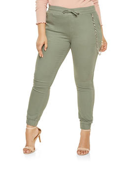 Plus Size Chain Detail Joggers - 3870072291107