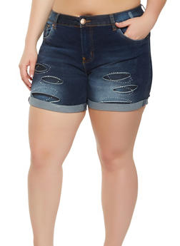 Plus Size VIP Push Up Denim Shorts - 3871065300492