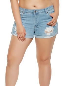 Plus Size VIP Distressed Denim Shorts - 3871065308492