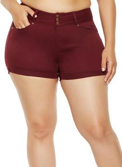 Plus Size WAX Push Up Denim Shorts - 3871071610070
