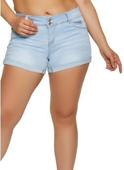 Plus Size WAX 2 Button Denim Shorts - 3871071610108