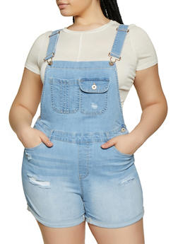 Plus Size WAX Fixed Cuff Denim Shortalls - 3871071610147