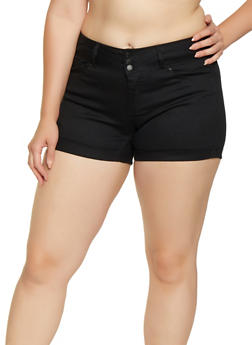 Womens Plus Size Black Denim Shorts