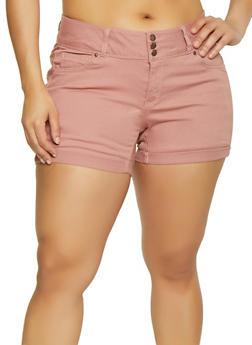 Plus Size WAX Solid Denim Shorts - 3871071617070