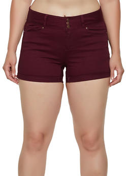 Plus Size WAX Solid Denim Shorts - 3871071617070