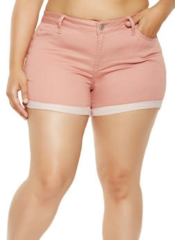 Plus Size WAX Push Up Jean Shorts - 3871071619002