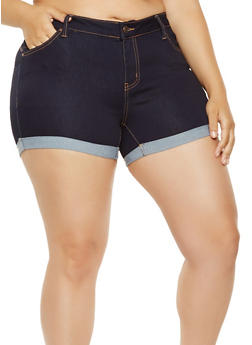 Plus Size WAX Push Up Jean Shorts - 3871071619002