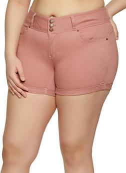 Plus Size WAX 3 Button Cuffed Jean Shorts - 3871071619007