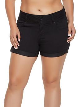 Plus Size WAX Push Up Fixed Cuff Shorts - 3871071619009
