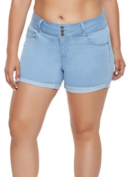 Plus Size WAX Push Up Fixed Cuff Shorts - 3871071619009