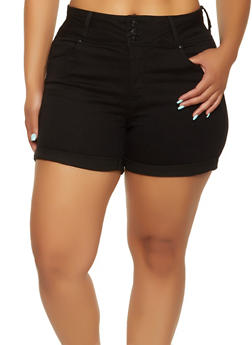 Plus Size WAX 3 Button Jean Shorts - 3871071619012