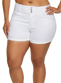 Plus Size WAX 3 Button Jean Shorts - 3871071619012