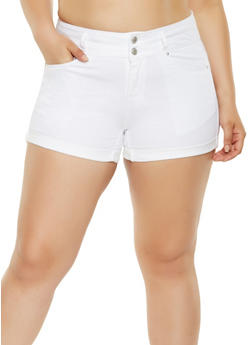 Plus Size WAX Denim Shorts - 3871071619017