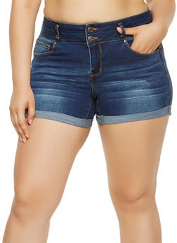 Plus Size WAX Denim Shorts - 3871071619017