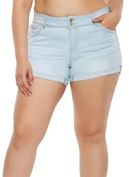 Plus Size WAX Push Up Denim Shorts - 3871071619018