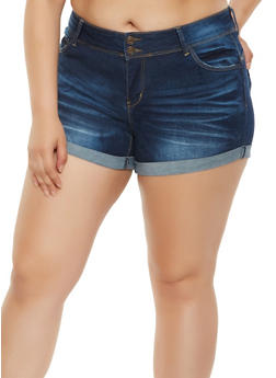 Plus Size WAX Push Up Denim Shorts - 3871071619018