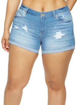 Plus Size WAX Distressed Denim Shorts - 3871071619111