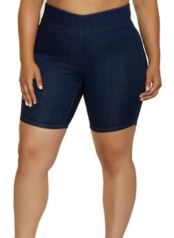 Plus Size Almost Famous Denim Pull On Shorts - 3872015990263