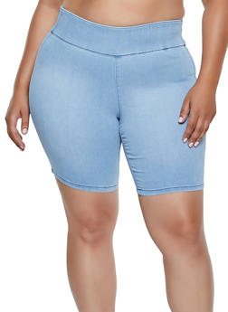 Plus Size Almost Famous Pull On Denim Shorts - 3872015990363