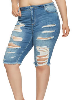 Plus Size Destroyed Denim Bermuda Shorts - 3872063156208
