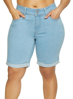 Plus Size WAX 2 Button Denim Bermuda Shorts - 3872071610152