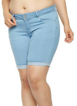 Plus Size WAX Denim Bermuda Shorts - 3872071619006