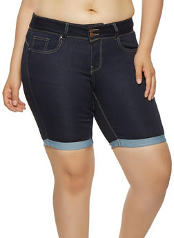 Plus Size WAX Denim Bermuda Shorts - 3872071619006
