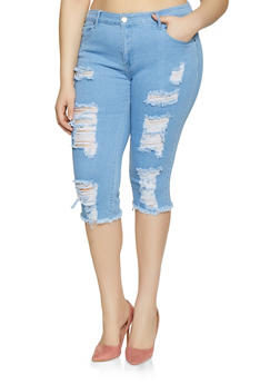 Plus Size VIP Destruction Denim Capris - 3873065300907