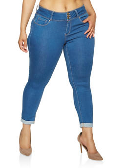 Plus Size WAX 3 Button Push Up Jeans - 3873071610969