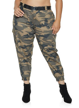 Plus Size Belted Camo Joggers - 3874051064388