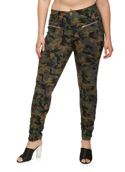 Plus Size Camo Moto Jeggings - 3874056570005