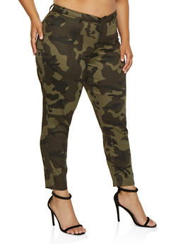 Plus Size Camo Twill Push Up Pants - 3874056576542