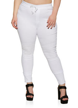 Plus Size Drawstring Waist Moto Jeggings - 3874063401944
