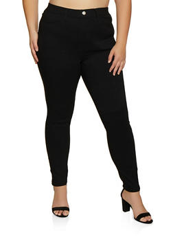Plus Size Rhinestone Accent Jeggings - 3874063403516