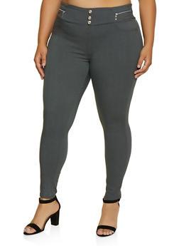 Plus Size Zip Trim Jeggings - 3874063403517