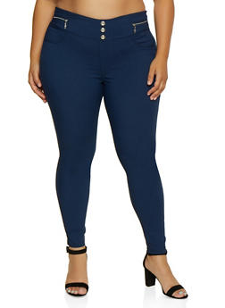Plus Size Zip Trim Jeggings - 3874063403517