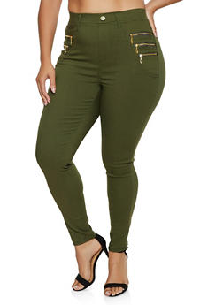 Plus Size Zip Detail Jeggings - 3874063403518