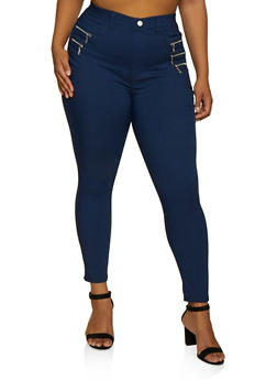 Plus Size Zip Detail Jeggings - 3874063403518