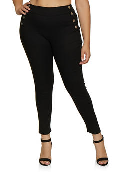 Plus Size Button Detail Pull On Pants - 3874063405699