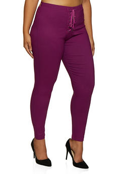 Plus Size Lace Up Pull On Pants - 3874063405989