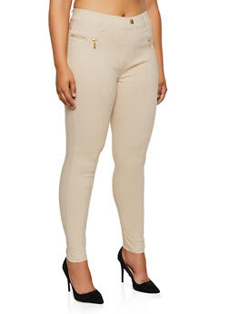 Plus Size Zipper Detail Jeggings - 3874063408153