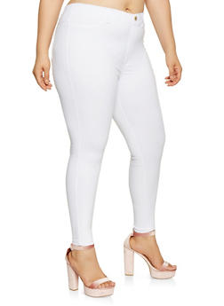 Plus Size Solid Push Up Jeggings - 3874063408407