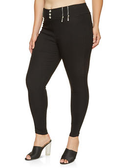 Plus Size Zipper Detail Jeggings - 3874063408408
