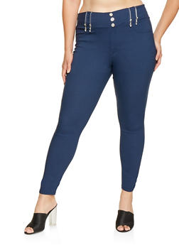 Plus Size Zipper Detail Jeggings - 3874063408408