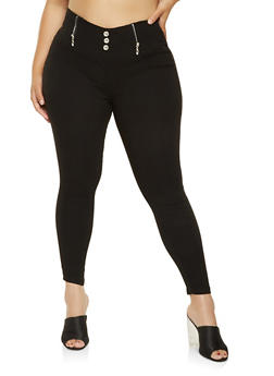 Plus Size High Waisted Zip Trim Jeggings - 3874063408409