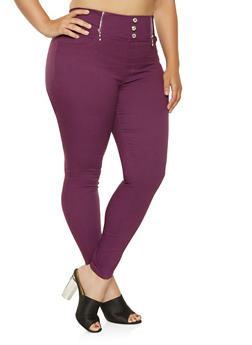 527de1edadf67 Plus Size High Waisted Zip Trim Jeggings - 3874063408409
