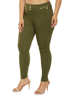 Plus Size Zip Trim Jeggings - 3874063408410