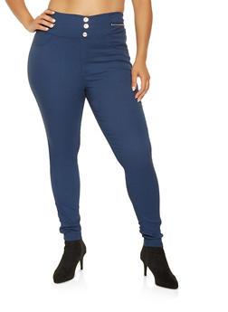 Plus Size Zip Trim Jeggings - 3874063408410