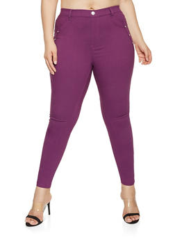 Plus Size Solid Hyperstretch Pants - 3874063408411